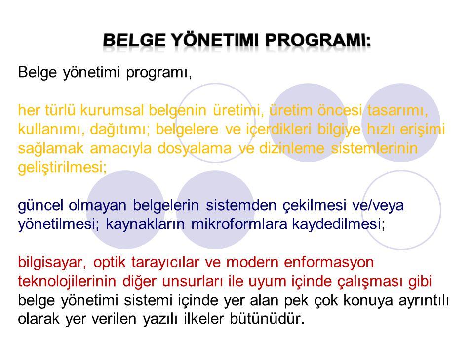 Belge yönetimi programları genel olarak ulusal ve kuruluş düzeyinde olmak üzere iki türde hazırlanmaktadır.