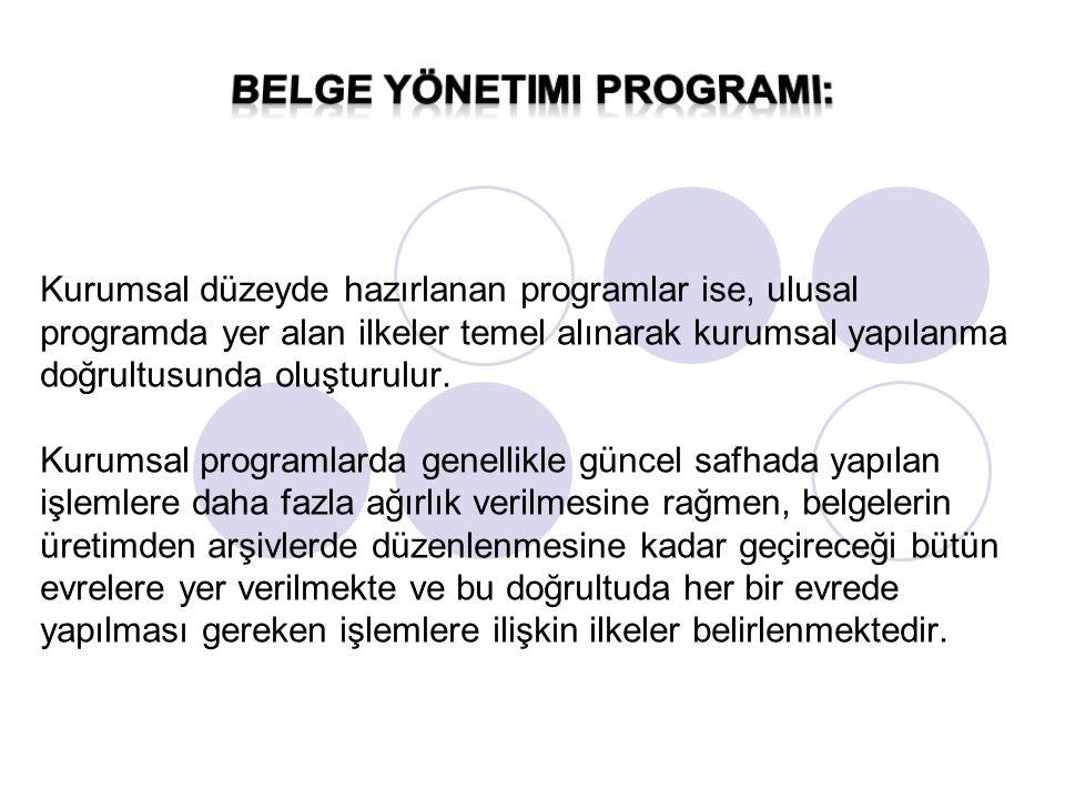Kurumsal düzeyde hazırlanan programlar ise, ulusal programda yer alan ilkeler temel alınarak kurumsal yapılanma doğrultusunda oluşturulur. Kurumsal pr