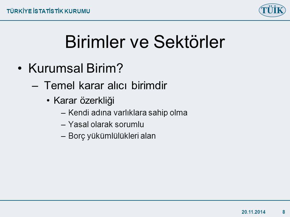 TÜRKİYE İSTATİSTİK KURUMU 20.11.20148 Birimler ve Sektörler Kurumsal Birim.
