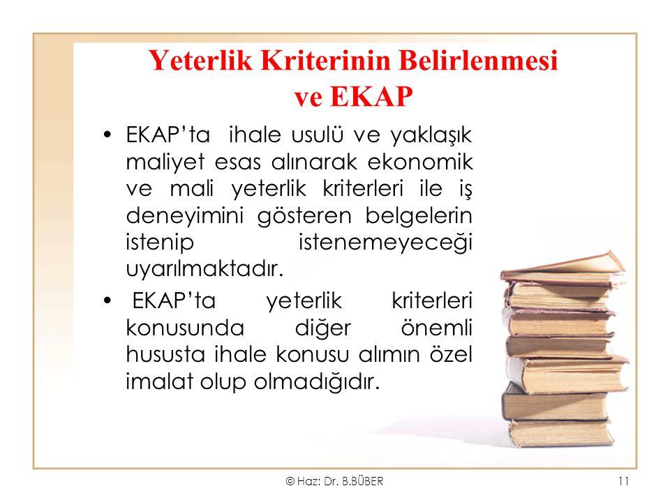 Yeterlik Kriterinin Belirlenmesi ve EKAP EKAP'ta ihale usulü ve yaklaşık maliyet esas alınarak ekonomik ve mali yeterlik kriterleri ile iş deneyimini gösteren belgelerin istenip istenemeyeceği uyarılmaktadır.