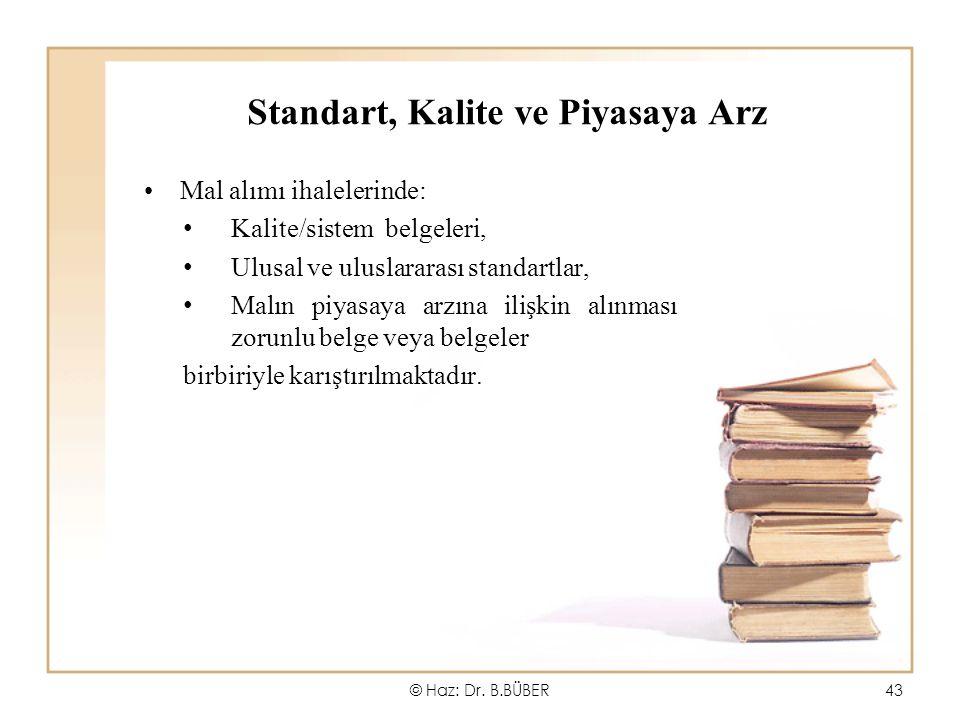 Standart, Kalite ve Piyasaya Arz Mal alımı ihalelerinde: Kalite/sistem belgeleri, Ulusal ve uluslararası standartlar, Malın piyasaya arzına ilişkin alınması zorunlu belge veya belgeler birbiriyle karıştırılmaktadır.