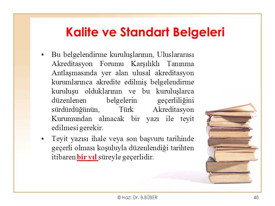 Kalite ve Standart Belgeleri Bu belgelendirme kuruluşlarının, Uluslararası Akreditasyon Forumu Karşılıklı Tanınma Antlaşmasında yer alan ulusal akredi