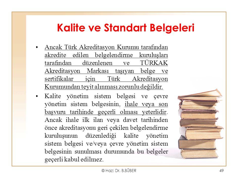 Kalite ve Standart Belgeleri Ancak Türk Akreditasyon Kurumu tarafından akredite edilen belgelendirme kuruluşları tarafından düzenlenen ve TÜRKAK Akred