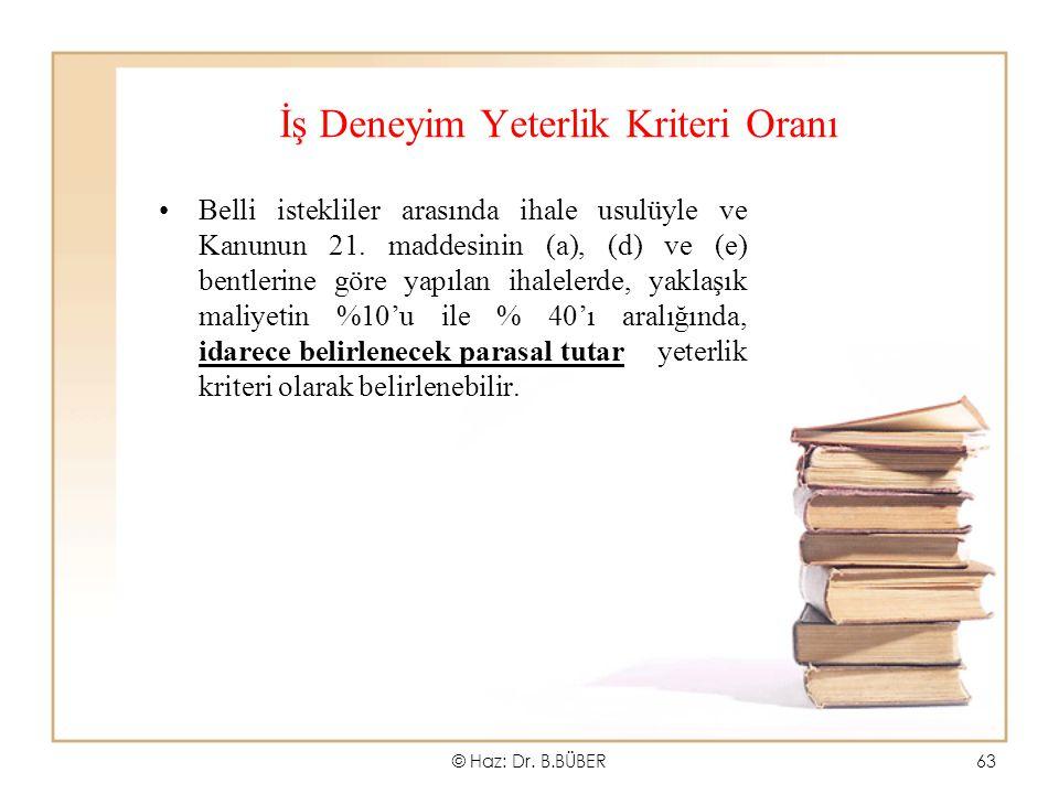 İş Deneyim Yeterlik Kriteri Oranı Belli istekliler arasında ihale usulüyle ve Kanunun 21. maddesinin (a), (d) ve (e) bentlerine göre yapılan ihalelerd