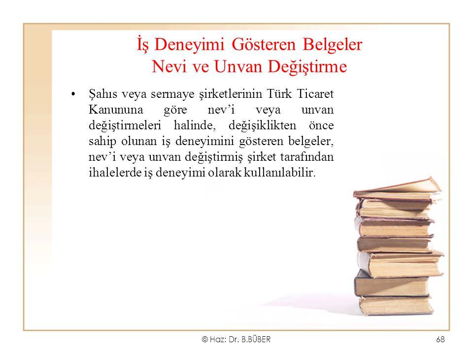 İş Deneyimi Gösteren Belgeler Nevi ve Unvan Değiştirme Şahıs veya sermaye şirketlerinin Türk Ticaret Kanununa göre nev'i veya unvan değiştirmeleri hal
