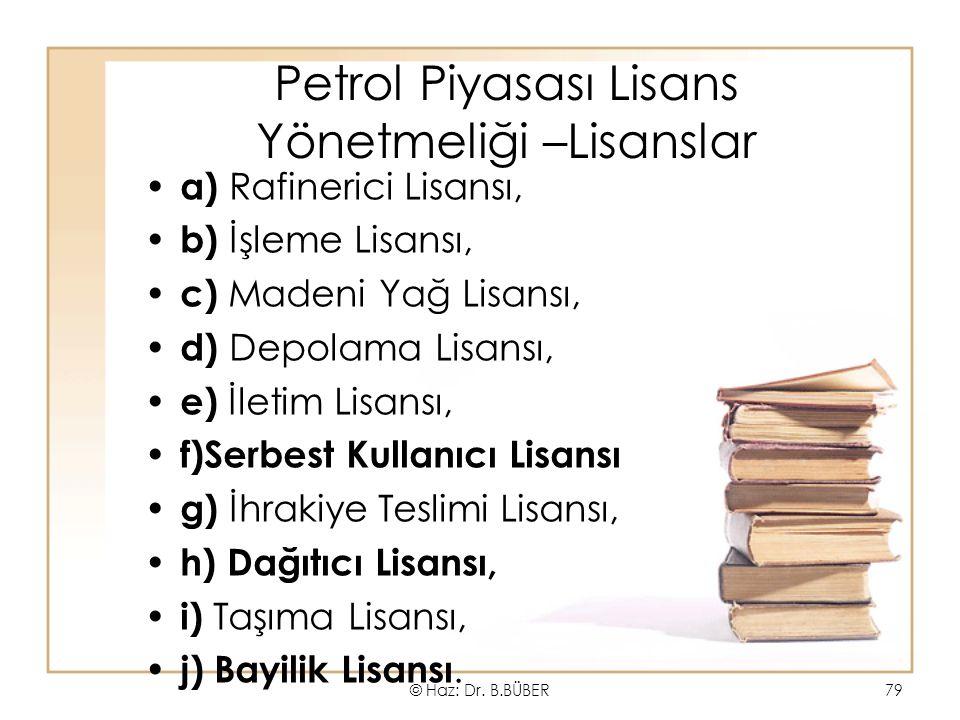 Petrol Piyasası Lisans Yönetmeliği –Lisanslar a) Rafinerici Lisansı, b) İşleme Lisansı, c) Madeni Yağ Lisansı, d) Depolama Lisansı, e) İletim Lisansı, f)Serbest Kullanıcı Lisansı g) İhrakiye Teslimi Lisansı, h) Dağıtıcı Lisansı, i) Taşıma Lisansı, j) Bayilik Lisansı.