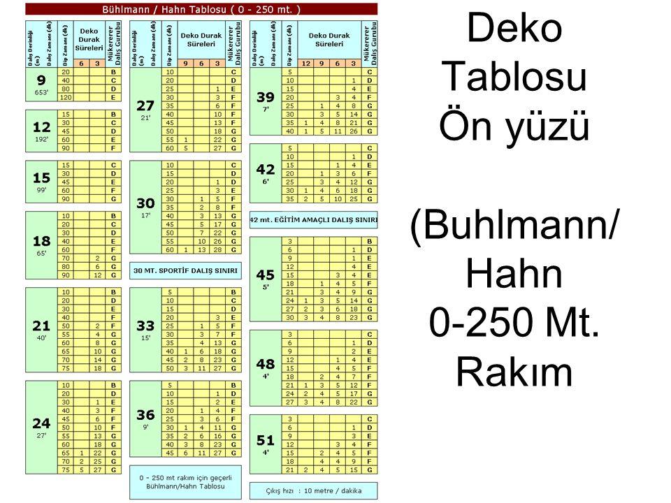 Deko Tablosu Ön yüzü (Buhlmann/ Hahn 0-250 Mt. Rakım