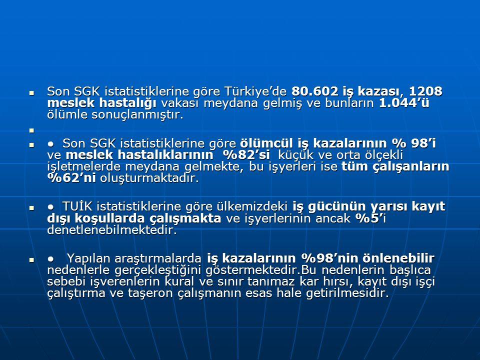 Son SGK istatistiklerine göre Türkiye'de 80.602 iş kazası, 1208 meslek hastalığı vakası meydana gelmiş ve bunların 1.044'ü ölümle sonuçlanmıştır.