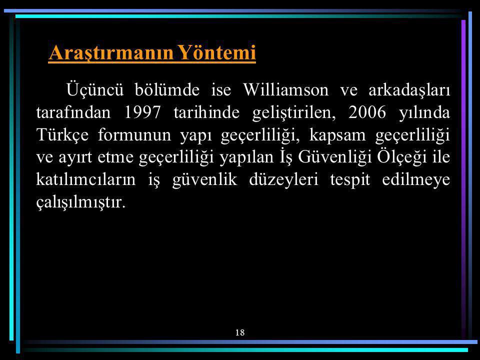 Üçüncü bölümde ise Williamson ve arkadaşları tarafından 1997 tarihinde geliştirilen, 2006 yılında Türkçe formunun yapı geçerliliği, kapsam geçerliliği ve ayırt etme geçerliliği yapılan İş Güvenliği Ölçeği ile katılımcıların iş güvenlik düzeyleri tespit edilmeye çalışılmıştır.