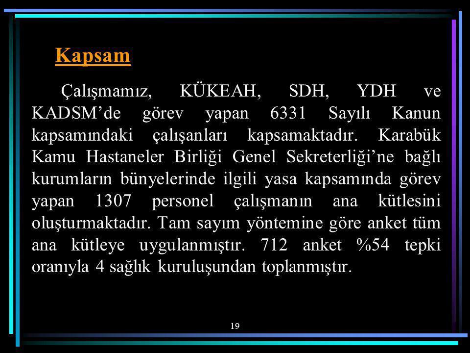 Çalışmamız, KÜKEAH, SDH, YDH ve KADSM'de görev yapan 6331 Sayılı Kanun kapsamındaki çalışanları kapsamaktadır.