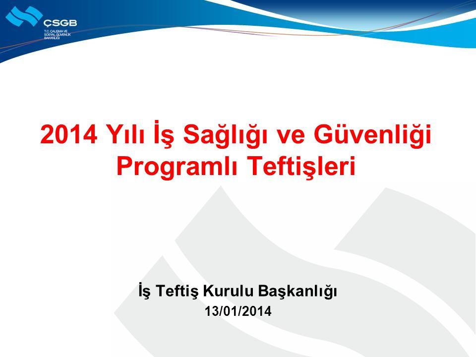 2014 Yılı İş Sağlığı ve Güvenliği Programlı Teftişleri İş Teftiş Kurulu Başkanlığı 13/01/2014