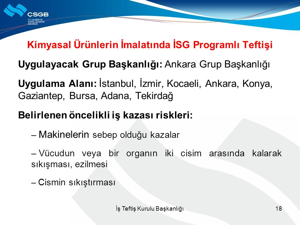 Kimyasal Ürünlerin İmalatında İSG Programlı Teftişi Uygulayacak Grup Başkanlığı: Ankara Grup Başkanlığı Uygulama Alanı: İstanbul, İzmir, Kocaeli, Anka