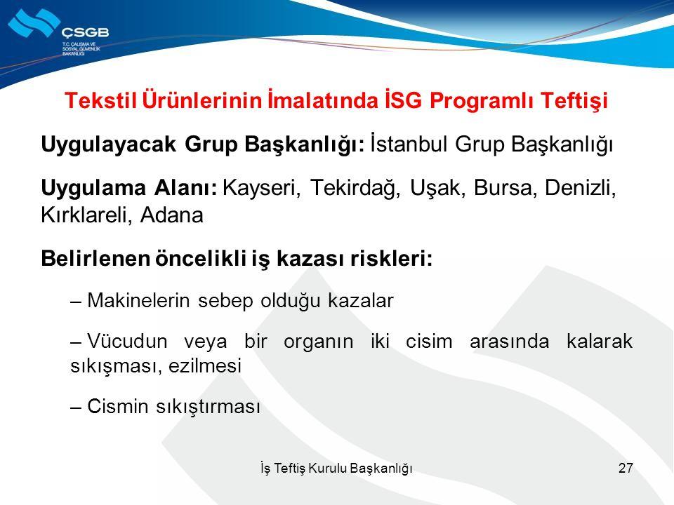 Tekstil Ürünlerinin İmalatında İSG Programlı Teftişi Uygulayacak Grup Başkanlığı: İstanbul Grup Başkanlığı Uygulama Alanı: Kayseri, Tekirdağ, Uşak, Bu