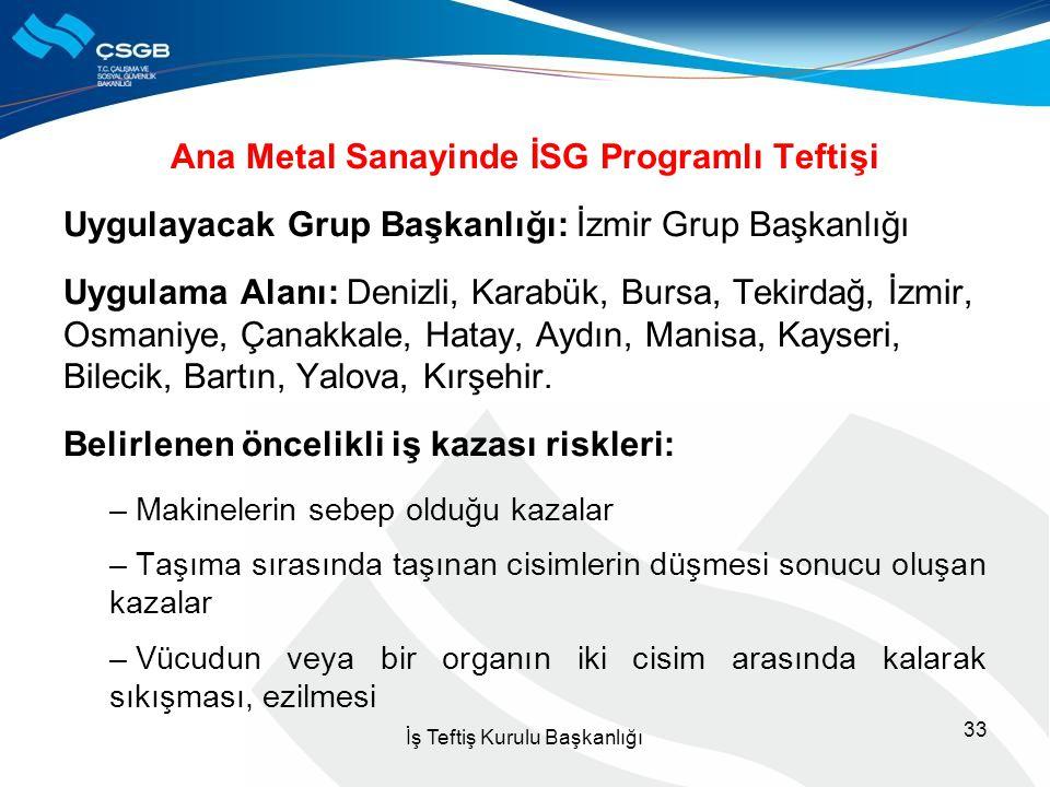 Ana Metal Sanayinde İSG Programlı Teftişi Uygulayacak Grup Başkanlığı: İzmir Grup Başkanlığı Uygulama Alanı: Denizli, Karabük, Bursa, Tekirdağ, İzmir,