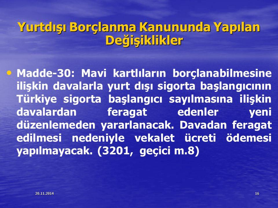 20.11.201416 Yurtdışı Borçlanma Kanununda Yapılan Değişiklikler Madde-30: Mavi kartlıların borçlanabilmesine ilişkin davalarla yurt dışı sigorta başla