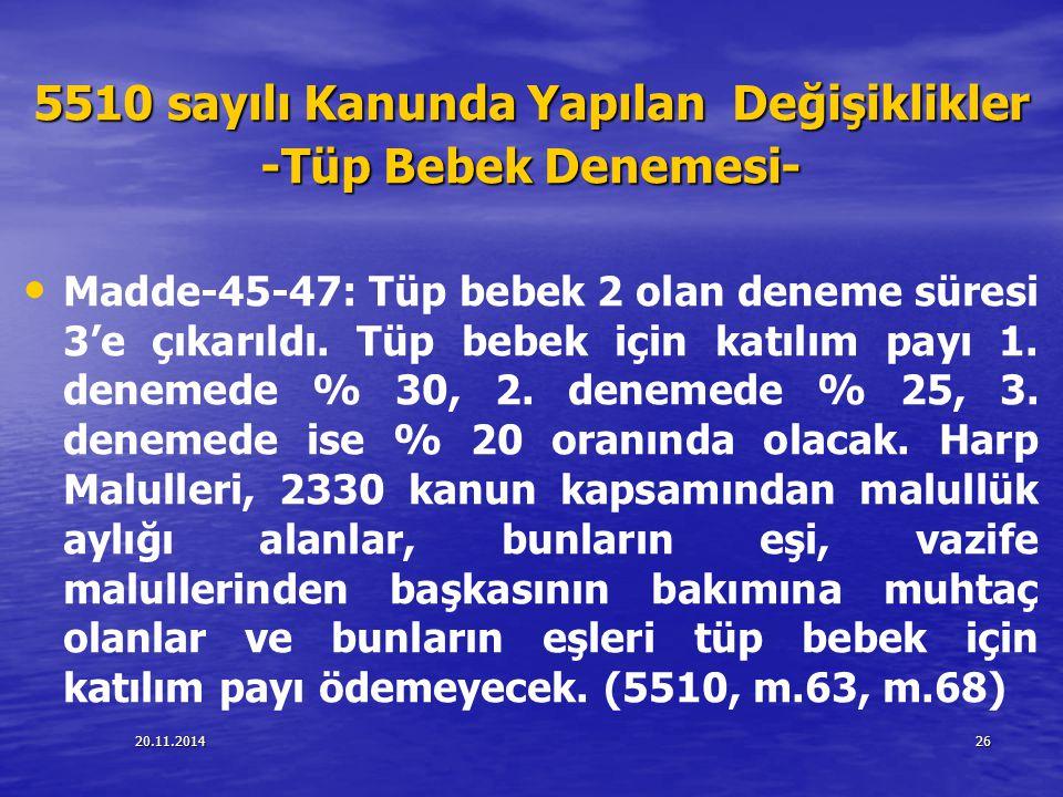 20.11.201426 5510 sayılı Kanunda Yapılan Değişiklikler -Tüp Bebek Denemesi- Madde-45-47: Tüp bebek 2 olan deneme süresi 3'e çıkarıldı. Tüp bebek için
