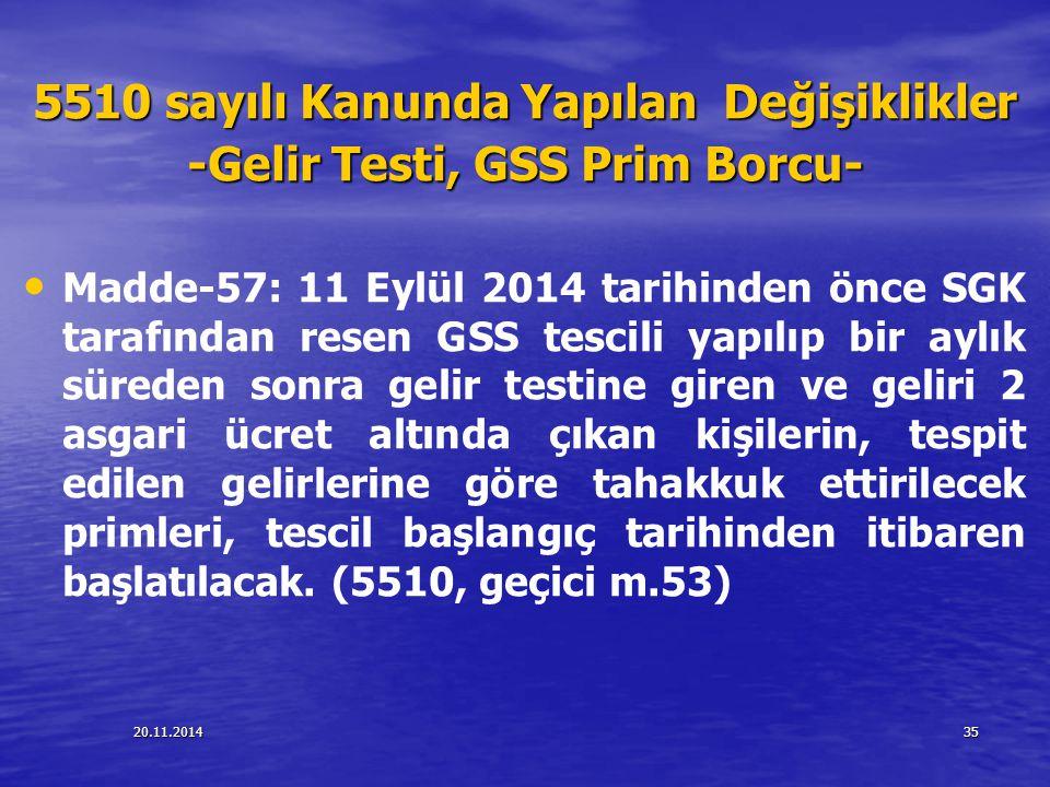 20.11.201435 5510 sayılı Kanunda Yapılan Değişiklikler -Gelir Testi, GSS Prim Borcu- Madde-57: 11 Eylül 2014 tarihinden önce SGK tarafından resen GSS