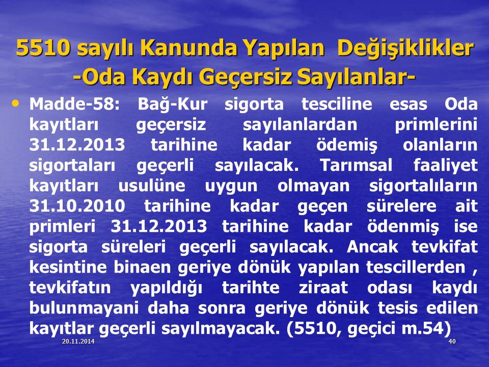 20.11.201440 5510 sayılı Kanunda Yapılan Değişiklikler -Oda Kaydı Geçersiz Sayılanlar- Madde-58: Bağ-Kur sigorta tesciline esas Oda kayıtları geçersiz
