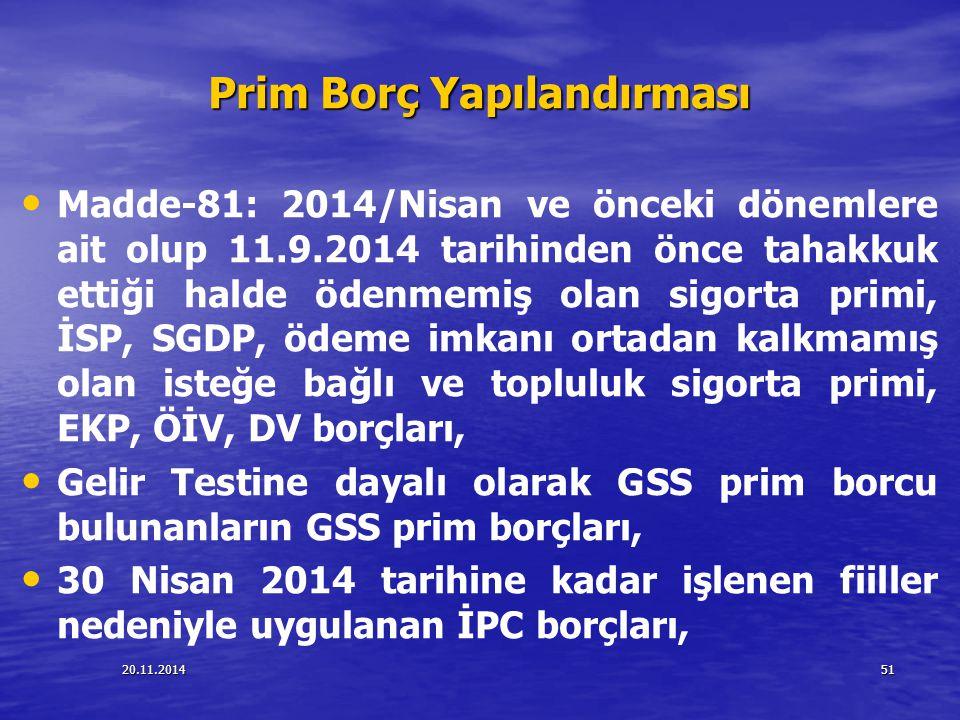20.11.201451 Prim Borç Yapılandırması Madde-81: 2014/Nisan ve önceki dönemlere ait olup 11.9.2014 tarihinden önce tahakkuk ettiği halde ödenmemiş olan