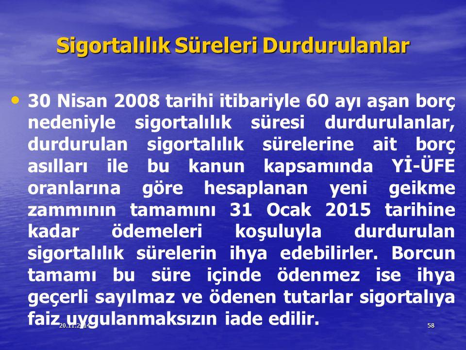 20.11.201458 Sigortalılık Süreleri Durdurulanlar 30 Nisan 2008 tarihi itibariyle 60 ayı aşan borç nedeniyle sigortalılık süresi durdurulanlar, durduru