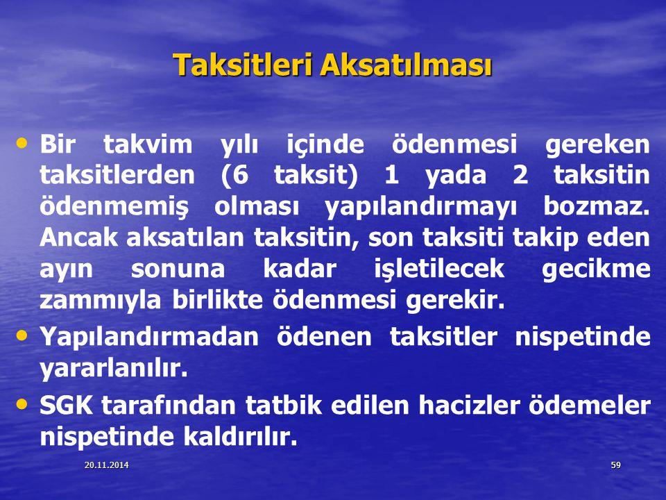 20.11.201459 Taksitleri Aksatılması Bir takvim yılı içinde ödenmesi gereken taksitlerden (6 taksit) 1 yada 2 taksitin ödenmemiş olması yapılandırmayı