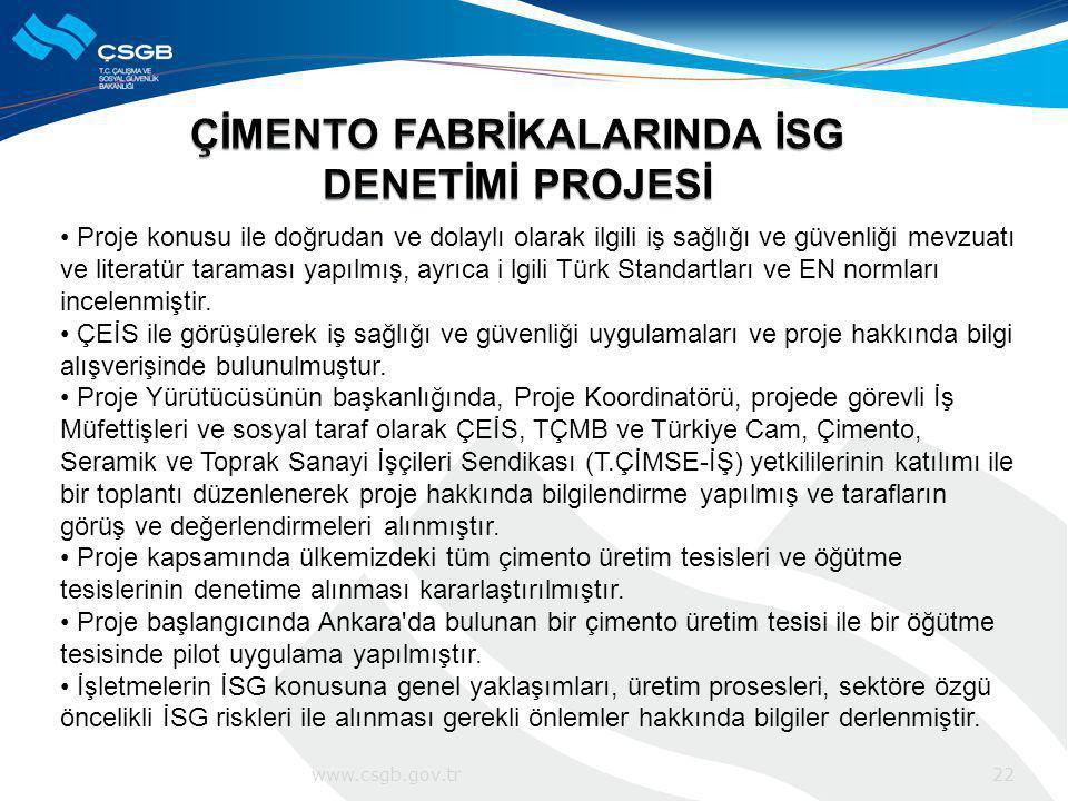 Proje konusu ile doğrudan ve dolaylı olarak ilgili iş sağlığı ve güvenliği mevzuatı ve literatür taraması yapılmış, ayrıca i lgili Türk Standartları v