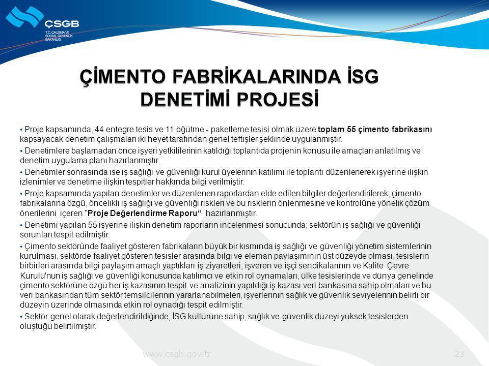 Proje kapsamında, 44 entegre tesis ve 11 öğütme - paketleme tesisi olmak üzere toplam 55 çimento fabrikasını kapsayacak denetim çalışmaları iki heyet