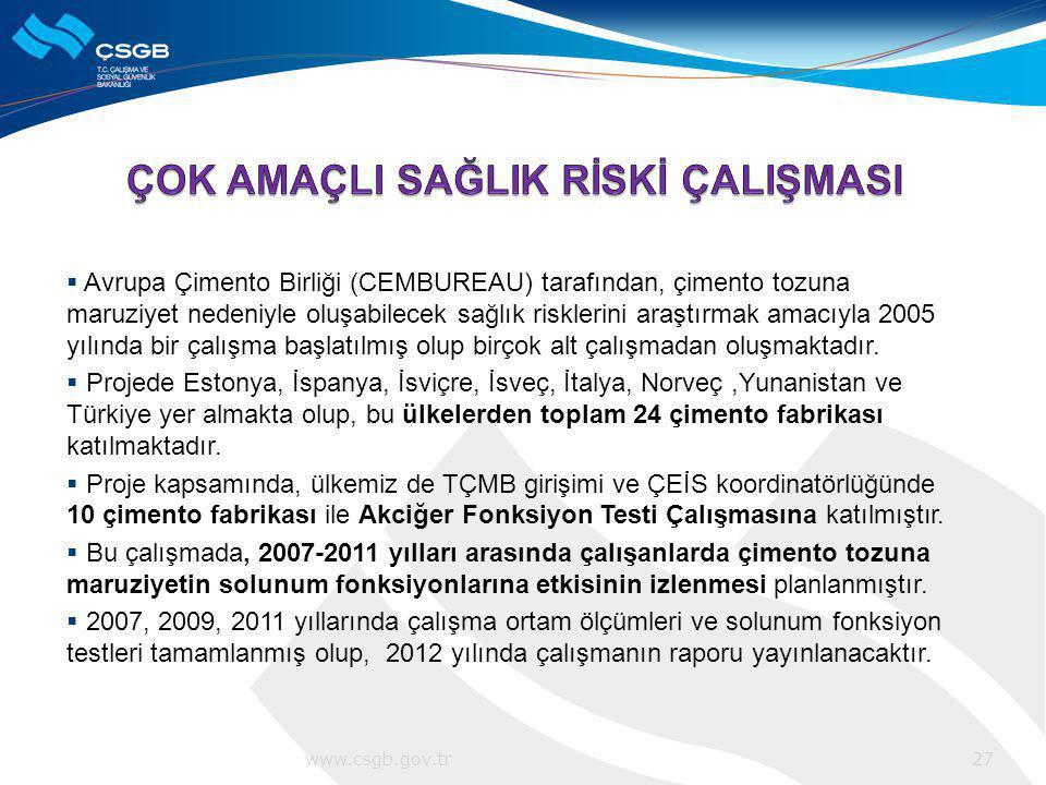  Avrupa Çimento Birliği (CEMBUREAU) tarafından, çimento tozuna maruziyet nedeniyle oluşabilecek sağlık risklerini araştırmak amacıyla 2005 yılında bi