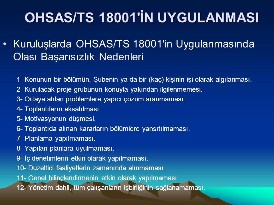 OHSAS/TS 18001 İN UYGULANMASI Kuruluşlarda OHSAS/TS 18001 in Uygulanmasında Olası Başarısızlık Nedenleri 1- Konunun bir bölümün, Şubenin ya da bir (kaç) kişinin işi olarak algılanması.