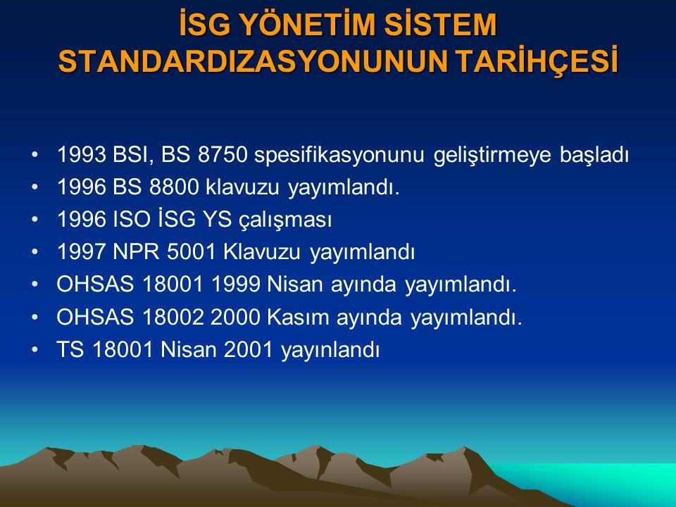 İSG YÖNETİM SİSTEM STANDARDIZASYONUNUN TARİHÇESİ 1993 BSI, BS 8750 spesifikasyonunu geliştirmeye başladı 1996 BS 8800 klavuzu yayımlandı. 1996 ISO İSG