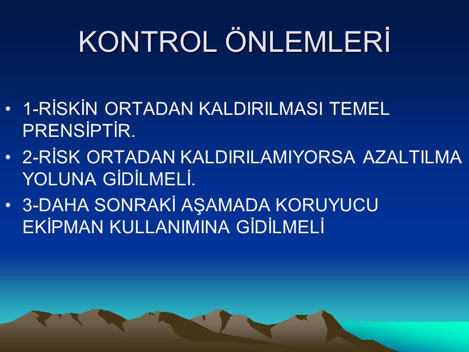 KONTROL ÖNLEMLERİ 1-RİSKİN ORTADAN KALDIRILMASI TEMEL PRENSİPTİR.