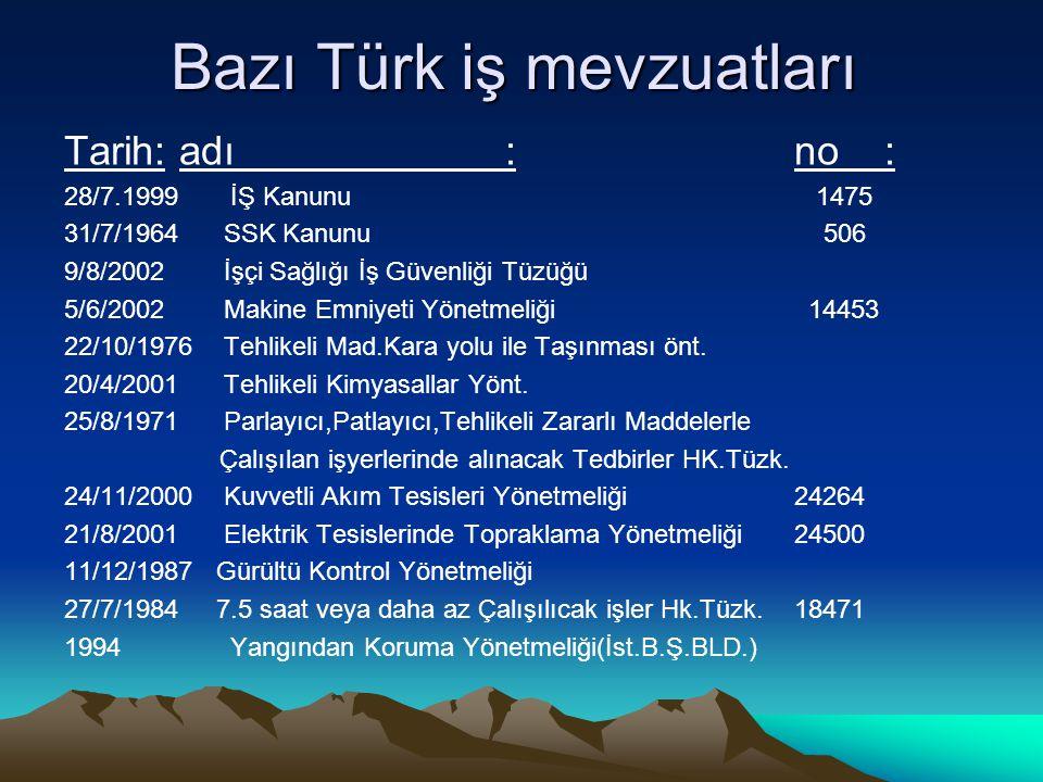 Bazı Türk iş mevzuatları Tarih: adı :no : 28/7.1999 İŞ Kanunu 1475 31/7/1964 SSK Kanunu 506 9/8/2002 İşçi Sağlığı İş Güvenliği Tüzüğü 5/6/2002 Makine