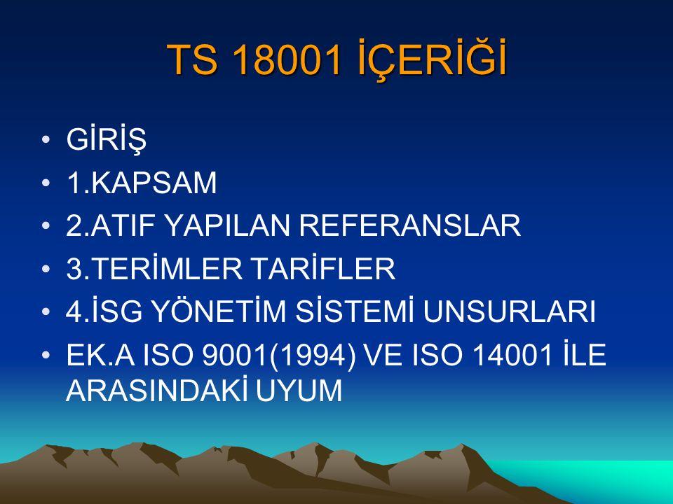 TS 18001 İÇERİĞİ GİRİŞ 1.KAPSAM 2.ATIF YAPILAN REFERANSLAR 3.TERİMLER TARİFLER 4.İSG YÖNETİM SİSTEMİ UNSURLARI EK.A ISO 9001(1994) VE ISO 14001 İLE AR