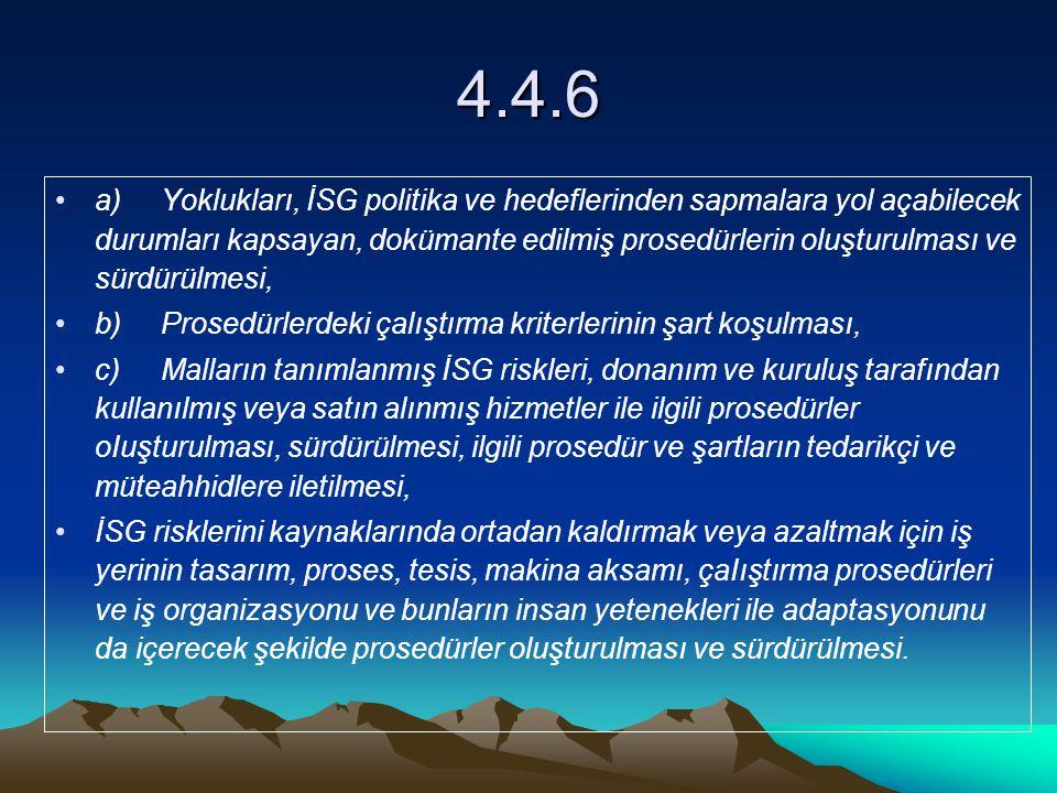 4.4.6 a)Yoklukları, İSG politika ve hedeflerinden sapmalara yol açabilecek durumları kapsayan, dokümante edilmiş prosedürlerin oluşturulması ve sürdür