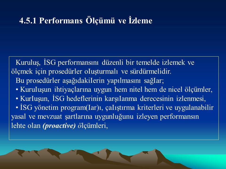 Kuruluş, İSG performansını düzenli bir temelde izlemek ve ölçmek için prosedürler oIuşturmalı ve sürdürmelidir.