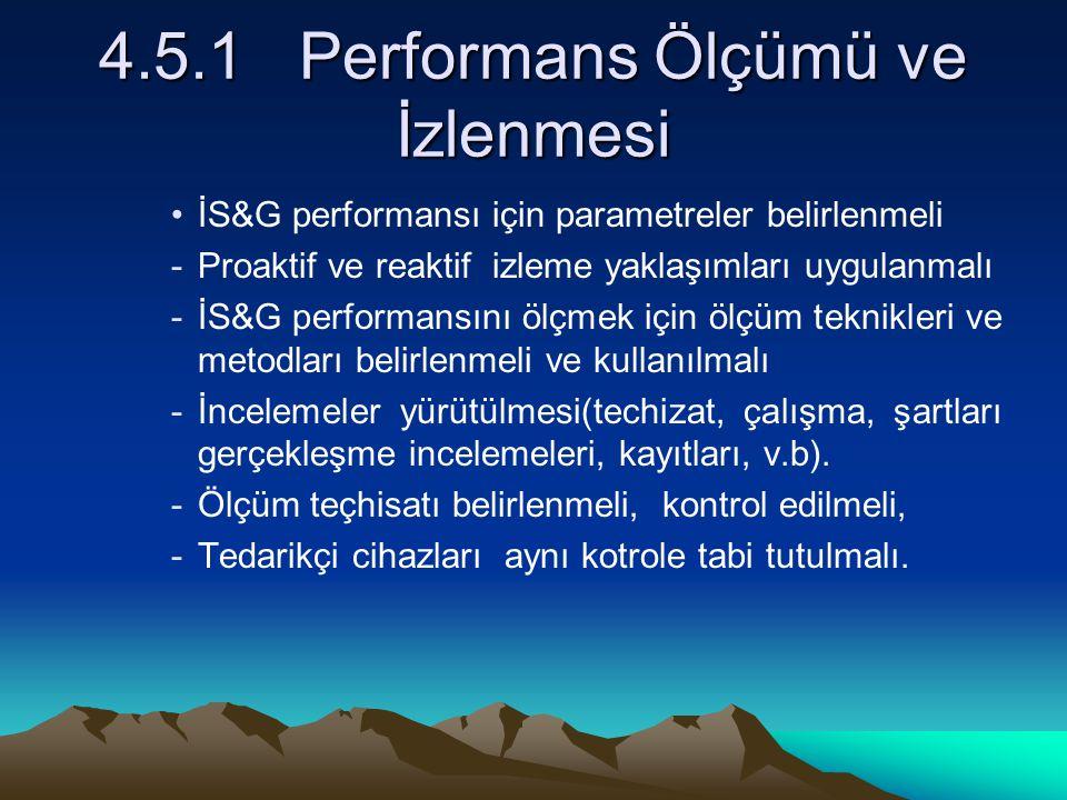 4.5.1 Performans Ölçümü ve İzlenmesi İS&G performansı için parametreler belirlenmeli -Proaktif ve reaktif izleme yaklaşımları uygulanmalı -İS&G perfor