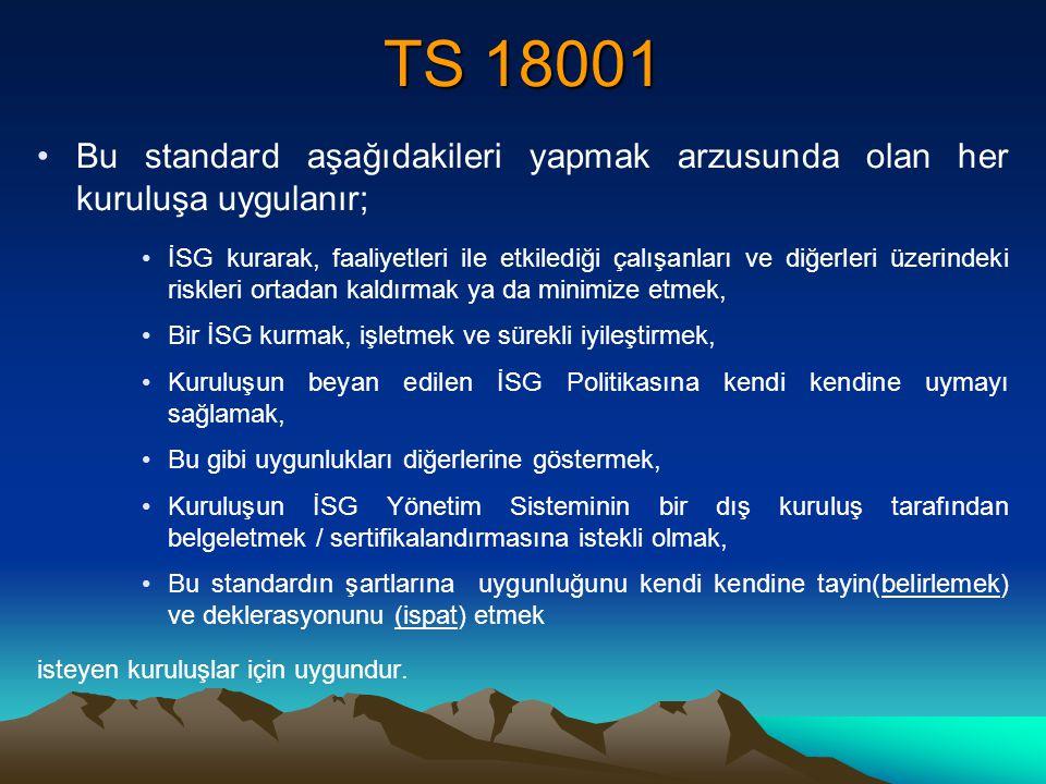 TS 18001 Bu standard aşağıdakileri yapmak arzusunda olan her kuruluşa uygulanır; İSG kurarak, faaliyetleri ile etkilediği çalışanları ve diğerleri üze