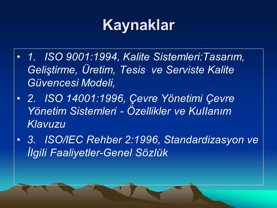Kaynaklar 1.ISO 9001:1994, Kalite Sistemleri:Tasarım, Geliştirme, Üretim, Tesis ve Serviste Kalite Güvencesi Modeli, 2.ISO 14001:1996, Çevre Yönetimi
