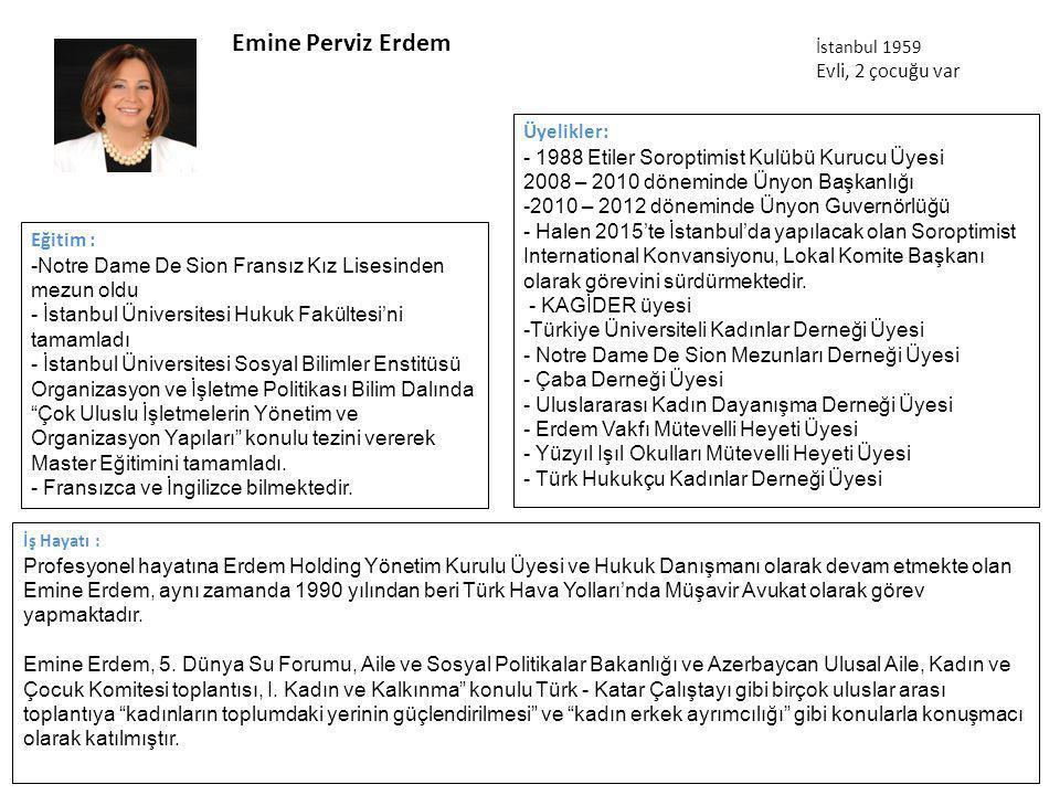 Emine Perviz Erdem İş Hayatı : Profesyonel hayatına Erdem Holding Yönetim Kurulu Üyesi ve Hukuk Danışmanı olarak devam etmekte olan Emine Erdem, aynı zamanda 1990 yılından beri Türk Hava Yolları'nda Müşavir Avukat olarak görev yapmaktadır.