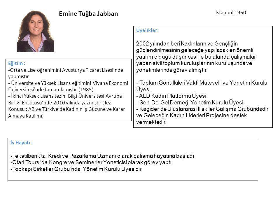 Emine Tuğba Jabban İş Hayatı : -Tekstilbank'ta Kredi ve Pazarlama Uzmanı olarak çalışma hayatına başladı.