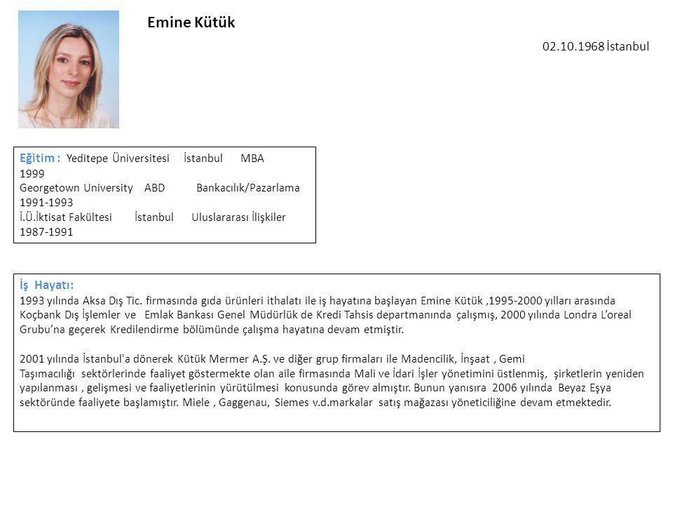 Emine Kütük İş Hayatı: 1993 yılında Aksa Dış Tic.
