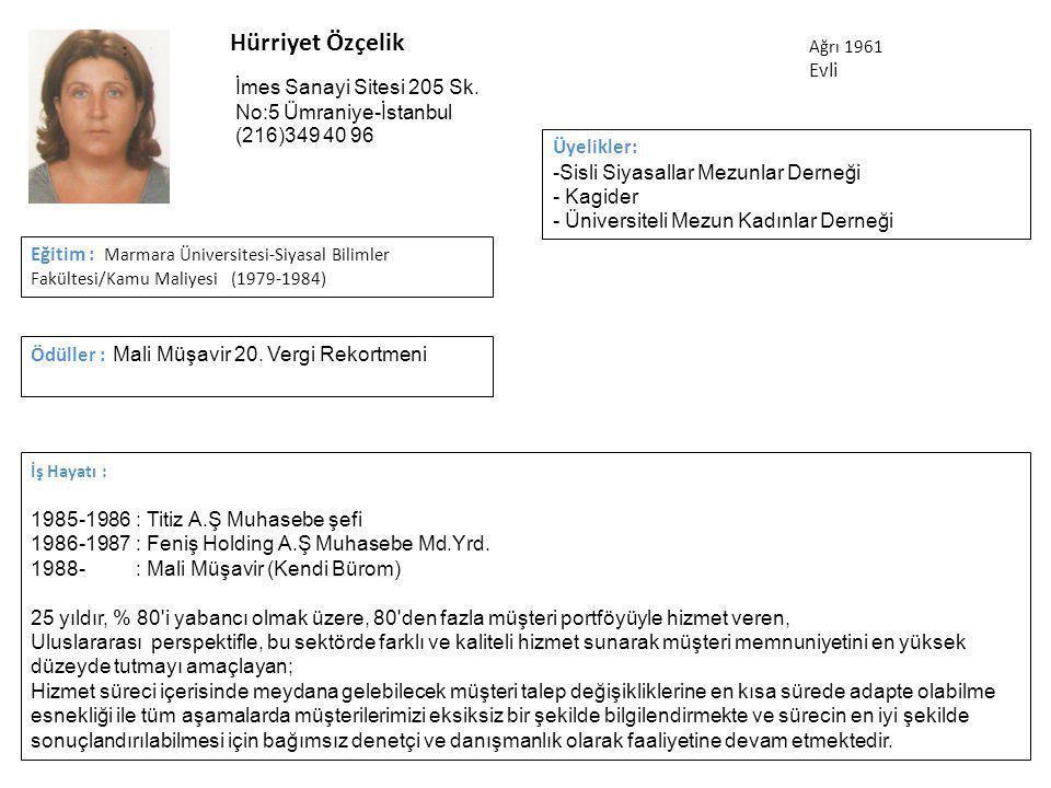 Hürriyet Özçelik İş Hayatı : 1985-1986: Titiz A.Ş Muhasebe şefi 1986-1987: Feniş Holding A.Ş Muhasebe Md.Yrd.