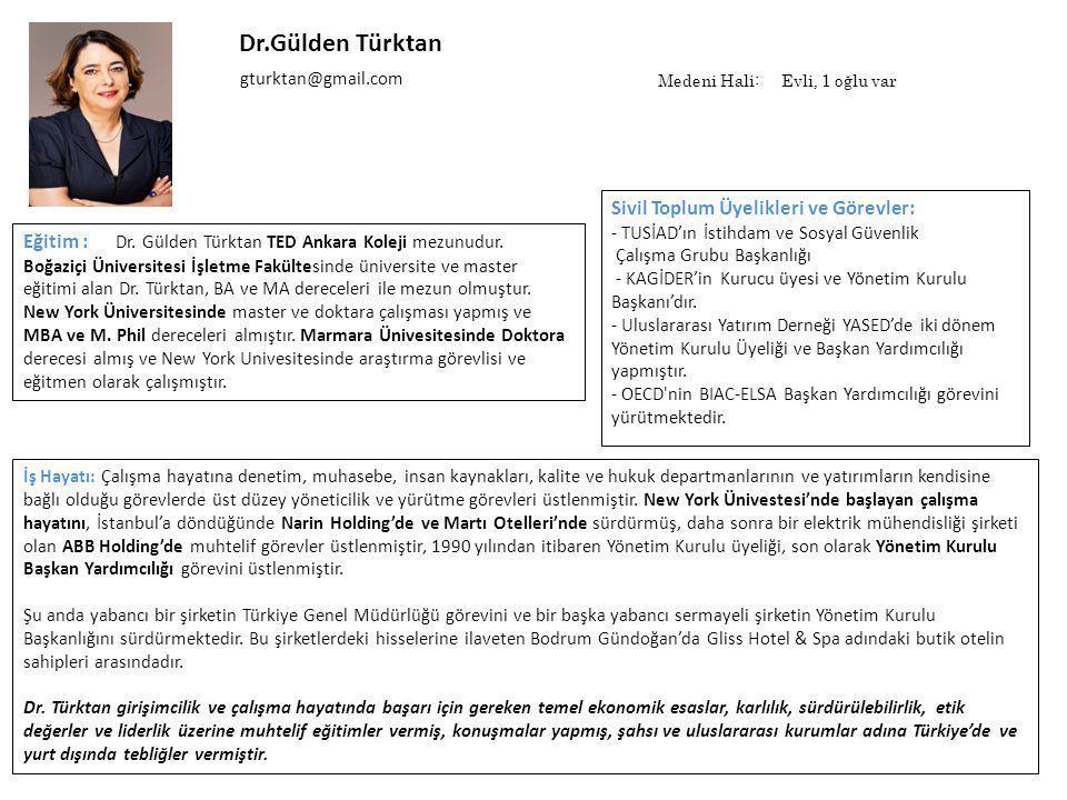 Dr.Gülden Türktan İş Hayatı: Çalışma hayatına denetim, muhasebe, insan kaynakları, kalite ve hukuk departmanlarının ve yatırımların kendisine bağlı olduğu görevlerde üst düzey yöneticilik ve yürütme görevleri üstlenmiştir.