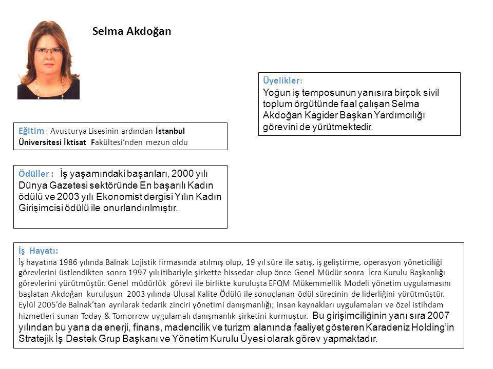 Selma Akdoğan İş Hayatı: İş hayatına 1986 yılında Balnak Lojistik firmasında atılmış olup, 19 yıl süre ile satış, iş geliştirme, operasyon yöneticiliği görevlerini üstlendikten sonra 1997 yılı itibariyle şirkette hissedar olup önce Genel Müdür sonra İcra Kurulu Başkanlığı görevlerini yürütmüştür.