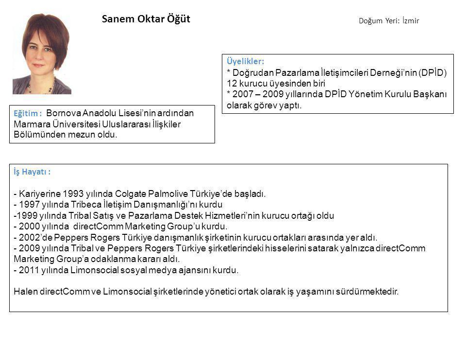 Sanem Oktar Öğüt İş Hayatı : - Kariyerine 1993 yılında Colgate Palmolive Türkiye'de başladı.