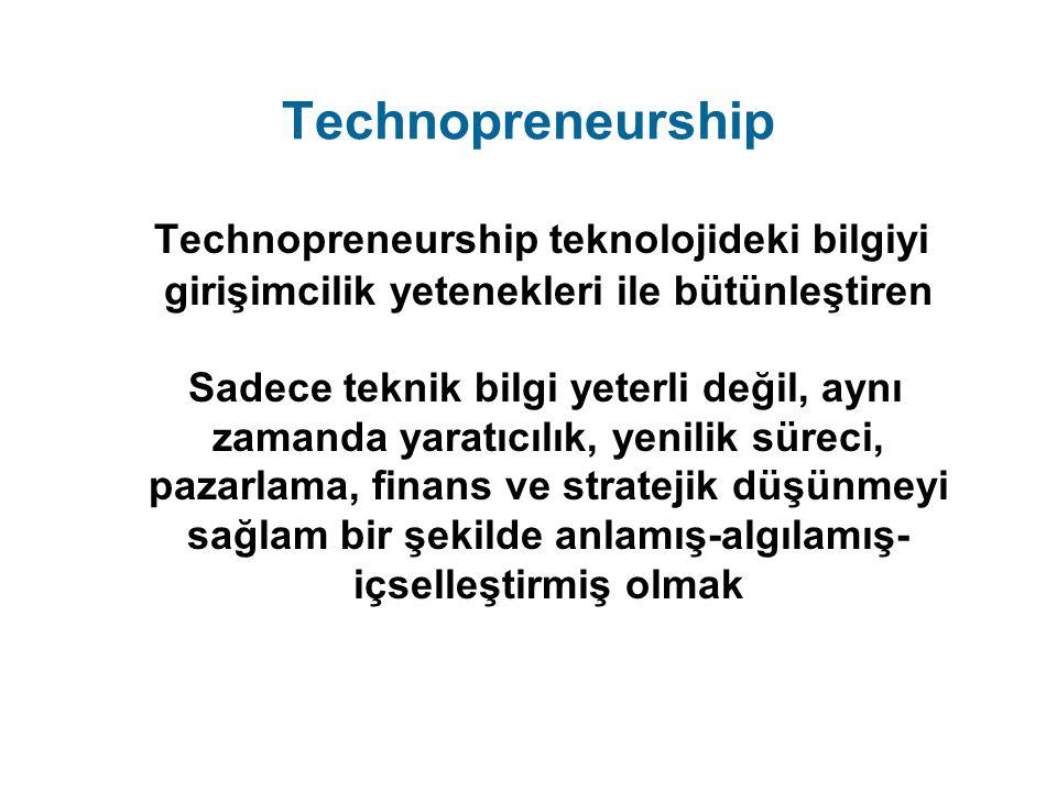 Technopreneurship Technopreneurship teknolojideki bilgiyi girişimcilik yetenekleri ile bütünleştiren Sadece teknik bilgi yeterli değil, aynı zamanda y
