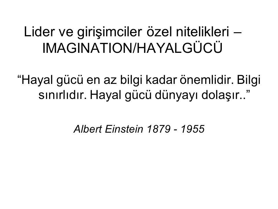 """Lider ve girişimciler özel nitelikleri – IMAGINATION/HAYALGÜCÜ """"Hayal gücü en az bilgi kadar önemlidir. Bilgi sınırlıdır. Hayal gücü dünyayı dolaşır.."""