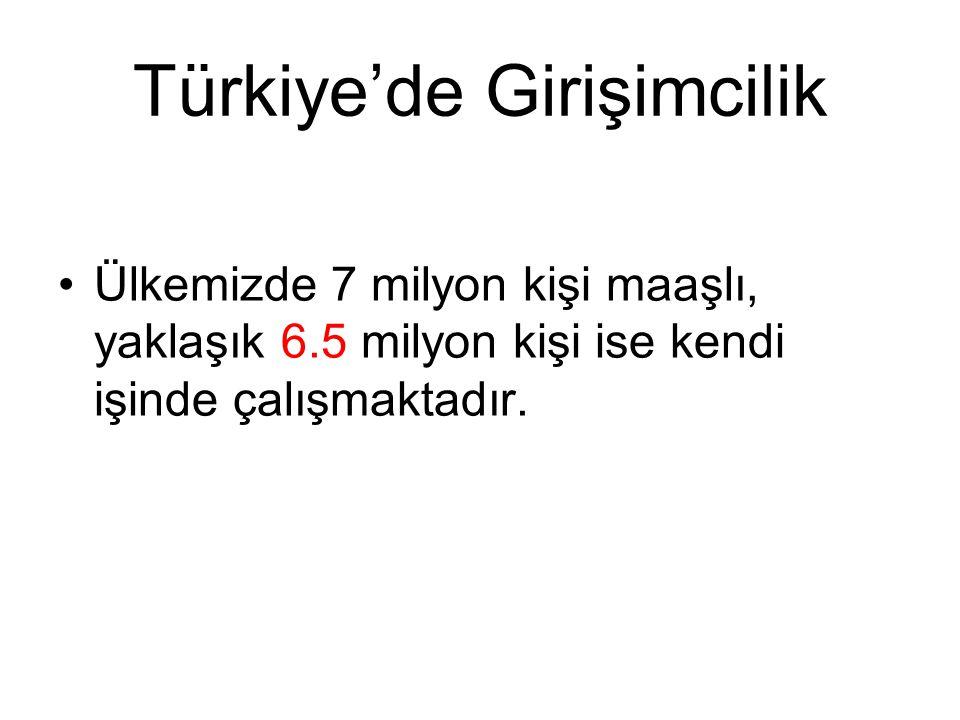 Türkiye'de Girişimcilik Ülkemizde 7 milyon kişi maaşlı, yaklaşık 6.5 milyon kişi ise kendi işinde çalışmaktadır.