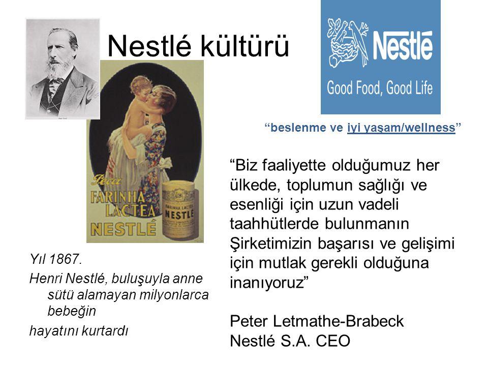 """Nestlé kültürü Yıl 1867. Henri Nestlé, buluşuyla anne sütü alamayan milyonlarca bebeğin hayatını kurtardı """"beslenme ve iyi yaşam/wellness"""" """"Biz faaliy"""