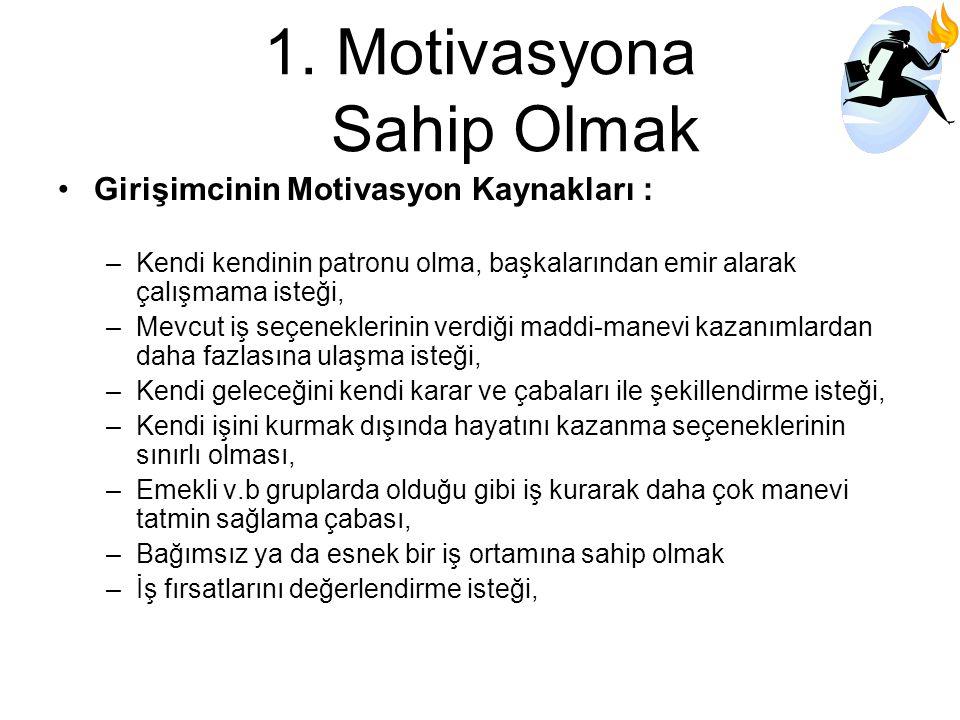 1.Motivasyona Sahip Olmak Girişimcinin Motivasyon Kaynakları : –Kendi kendinin patronu olma, başkalarından emir alarak çalışmama isteği, –Mevcut iş se